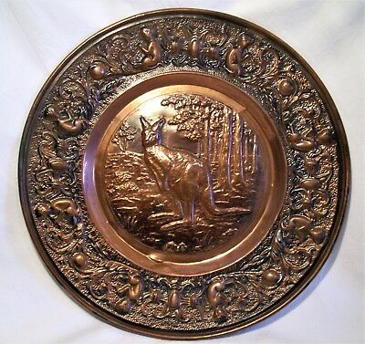 Vintage Copper Wall Plaque Plate Tray Australian Kangaroo 37Cm