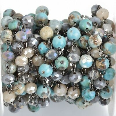 3ft Gemstone Crystal Rosary Chain Blue Jasper, Crystal, gunmetal, 8mm fch0870a