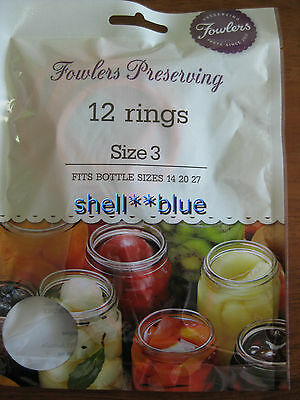 Fowlers Vacola  Preserving Rings size 3  BRAND NEW  ONE DOZEN