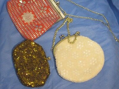 3 Vintage  Beaded Purses Evening all 17 cm wide gold + white made Hong Kong 50's