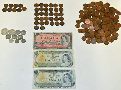 Canada Pennies 9 40s, 32 50s, 200 60s + Silver Coins + Other coins + Paper Money