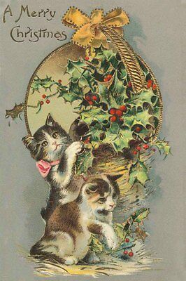 Cute Kitten Cats 1930's Drawing 8-LARGE New Christmas Note Cards