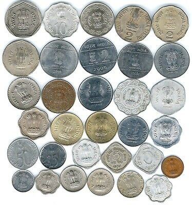 32 different world coins from INDIA