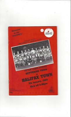 Kettering Town v Halifax Town FA Cup 1988/89 Football Programme