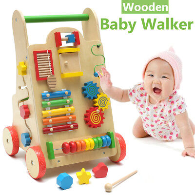 Wooden Baby Walker Toddler Kids Educational Push Activity Toy Learn Walk Tool