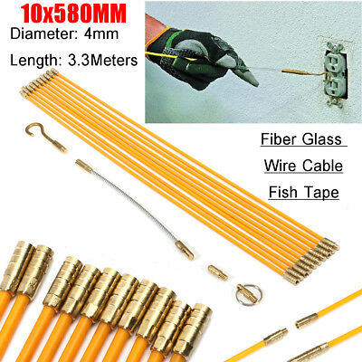 10Pcs 58cm 1.9FT 4mm Dia. Yellow Fiberglass  Rods withThreaded Brass Connectors