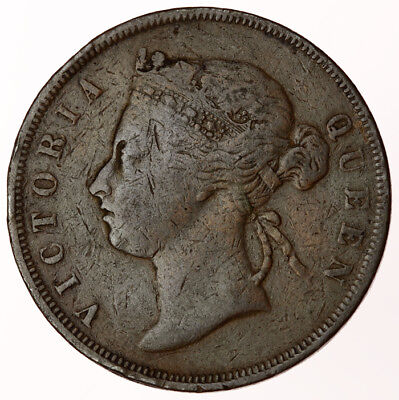 1883 Straits Settlements One Cent ~ KM#9 Victoria British Colonial