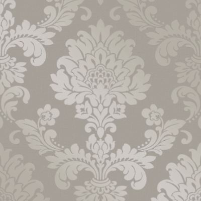 Quartz Damask Wallpaper Pewter - Fine Decor Fd41975 Glitter Metallic