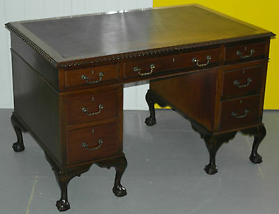 Stunning Antique Queen Anne Partner Desk With Claw And Ball Feet Leather Top