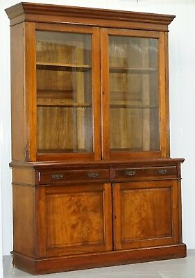Stunning Circa 1890 Original Maple & Co London Bookcase, Glazed Doors Dresser