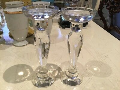 Pair Glass Crystal Cut Candle Holders 25cm Tall
