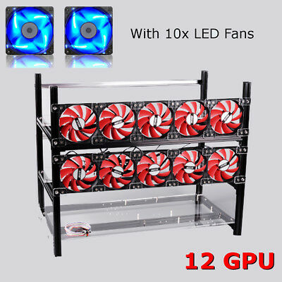 12GPU Open Air Miner & 10 Fan Stackable Aluminum Rig Frame Case Ethereum ZCash