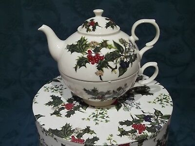Portmeirion Holly & / and Ivy Tea for One - Teapot & Cup Set - BNIB