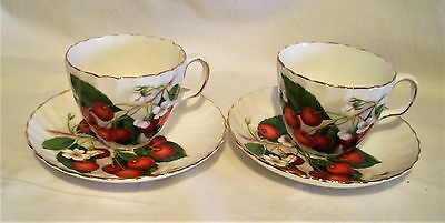 Adderley Porcelain Bone China  Demitasse Cup Saucer Duo X2 Cherry Ripe Exc Con