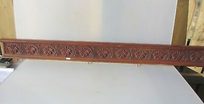 "Antique Carved Wooden Panel Strip Plaque Cornice Wood Gilt Scroll Fan Shell 52""W"