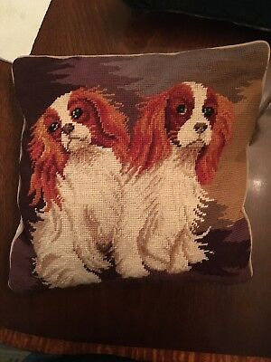 Needlepoint Cavalier King Charles spaniel Pillow