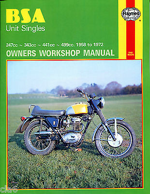 BSA Unit Singles Owners Workshop Manual 1958-72 C15 to B44 Victor etc *NEW