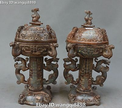 27CM Natural Hetian Old Jade Dragon Dragons Beast Incense Burner Censer Pot Pair
