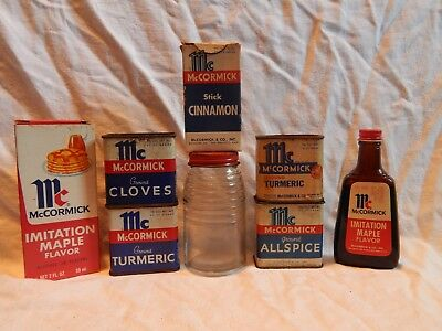 Vintage Lot McCormick Spice Advertising Tins, Flavor Extract Bottles & Shaker