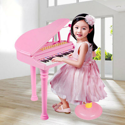 Kids Electronic Musical Keyboard Piano Microphone Synthesizer Stool Pink &