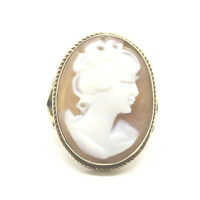 Beautiful Vintage 9ct Gold Agate Cameo Circa.1960 Yellow Gold Ring Size H