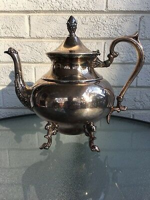 Vintage Silverplate Footed Tea Coffee Pot  Marked Lion  P S Crown
