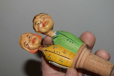 antique ANRI MECHANICAL KISSING COUPLE carved wooden cork stopper ww2