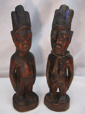 "Vintage IBEJI Twin Male Female 12.5"" Wood Figures Yoruba Nigeria Africa No Resv"