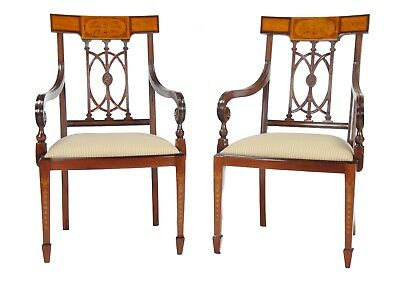 NDRAC031, Niagara Furniture, Pair of Inlaid Hepplewhite Arm Chairs, PAIR chairs