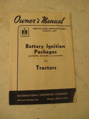 International Harvester Owners Manual  Battery Ignition Packages For Tractors