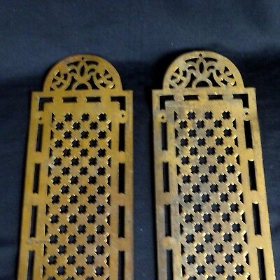 2 Vintage Push Plates Brass Touch Door Hardware Backplate Art Deco Retro Mission