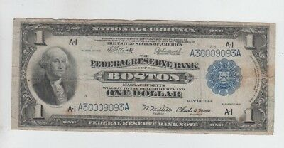 Federal Reserve Note FRBN $1 1918 fine stains tear