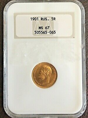 1901 Russian gold coin 5 roubles NGC MS67 **RARE**