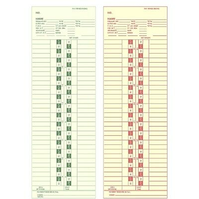 Side-Feed Monthly 1-31 Time Cards FORM 100382 box of 1000