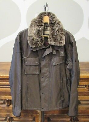 BELSTAFF Gold Label Mens Large Brown Fur Trim Winter Coat Parka - L