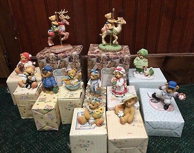 Cherished Teddies lot of 12 with boxes and paperwork