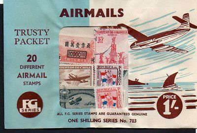 F.G. SERIES No. 703: 20 OLD DIFFERENT & GENUINE STAMPS AIRMAIL AVIA LUFTPOST