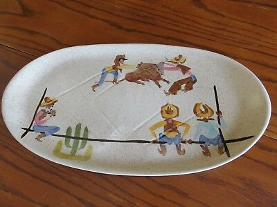 Redwing Pottery Dinnerware Large Platter Cowboy Round-Up, Free Ship