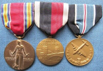 Full size US WWII Victory, Army Occ Svc, & Humane Action/Berlin Airlift Medals