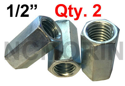Qty 2 Hex Rod Coupling Nuts 1/2-13 x 1-1/4 Threaded Rod Connectors Zinc Coupler