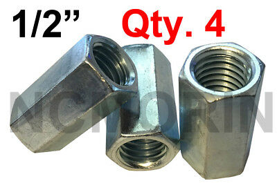 "Qty 4 Hex Rod Coupling Nuts 1/2-13 x 1-3/4"" Threaded Rod Connectors Zinc Coupler"