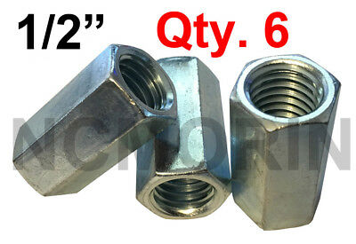 "Qty 6 Hex Rod Coupling Nuts 1/2-13 x 1-3/4"" Threaded Rod Connectors Zinc Coupler"