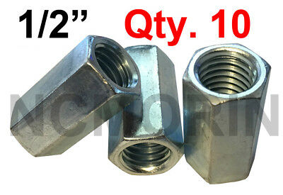 Qty 10 Hex Rod Coupling Nuts 1/2-13 x 1-3/4 Threaded Rod Connectors Zinc Coupler