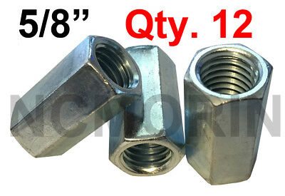 Qty 12 Hex Rod Coupling Nuts 5/8-11 x 2-1/8 Threaded Rod Connectors Zinc Coupler
