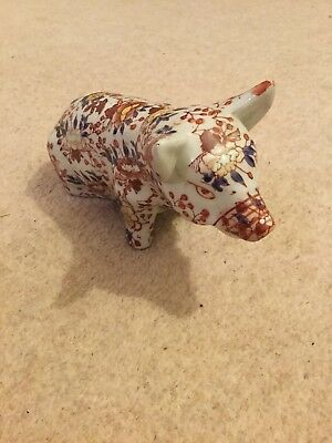 Antique Imari Porcelain Pig In Lovely Condition