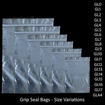 Small Clear Grip Self Press Seal Resealable Poly Polythene Zip Lock Plastic Bags