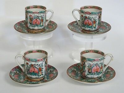 LOT of 4 VINTAGE Y.T.  FAMILLE ROSE MEDALLION DEMITASSE EGGSHELL CUP & SAUCER
