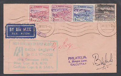 Bangladesh locals, Pakistan Sc 130b/134a, 1971 Dacca-Calcutta First Flight cover