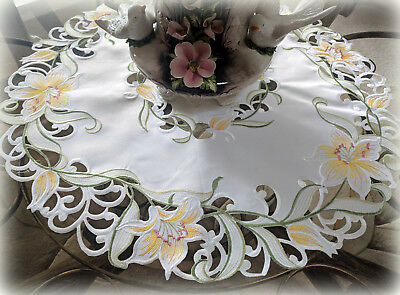 Doily Lily Flower Lace 23 inch Easter Table Topper Dresser Scarf Scarf