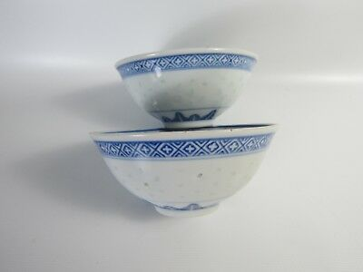 Pair of Chinese Blue and White Porcelain Dragon Rice Bowls
